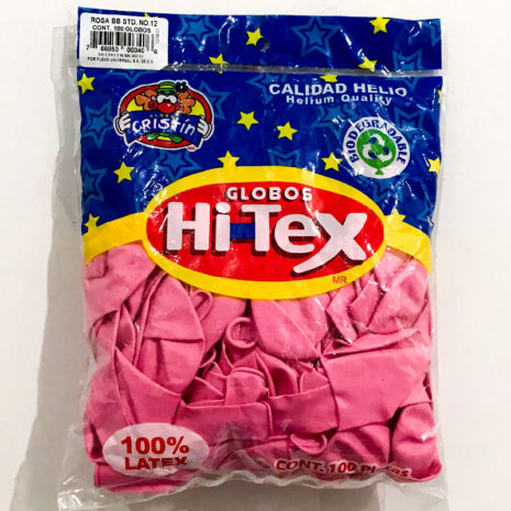 Globo de Latex Solido Decorativo, #12 Pulgadas Forma Redondo, Bolsa con 100 Piezas, 100% Biodegradable,Marca Hitex