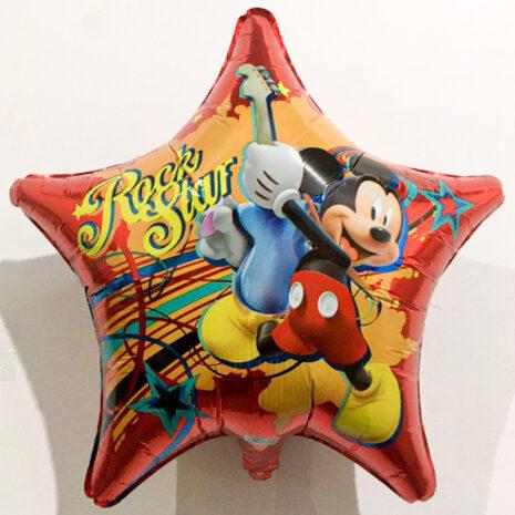 Globo Metalico Mickie Mouse Rock Star de Cumpleaños, 18 Pulgadas en Forma de Estrella, Marca Anagram