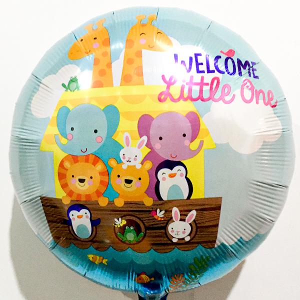 Globo Metalico Welcome Little One Safari Bebe de Baby Shower, 18 Pulgadas en Forma de Circulo, Marca Anagram