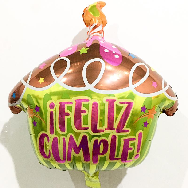 Globo Metalico Feliz Cumple Pastelito de Cumpleaños, 18 Pulgadas en Forma de Cupcake, Marca Anagram