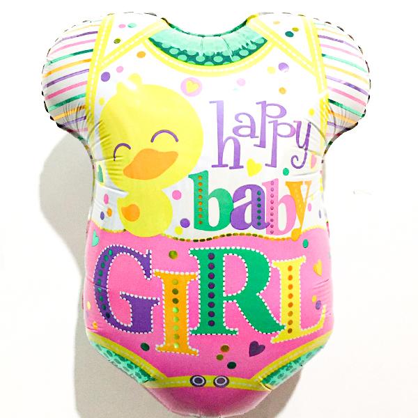 Globo Metalico Happy Baby Girl Pañalero de Baby Shower, 18 Pulgadas en Forma de Pañalero, Marca Kaleidoscope