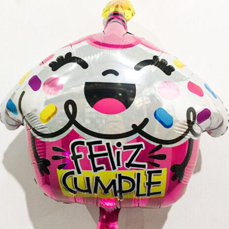 Globo Metalico Feliz Cumple Pastelito Sonriente Magia Rosa de Cumpleaños, 18 Pulgadas en Forma de Cup Cake, Marca Kaleidoscope