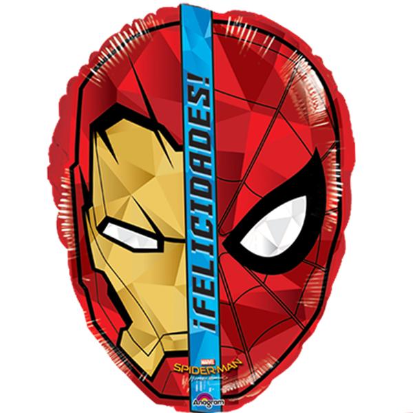 Globo Metalico Felicidades Fusion Iron Man Spider Man de Cumpleaños, 18 Pulgadas en Forma de Circulo, Marca Anagram