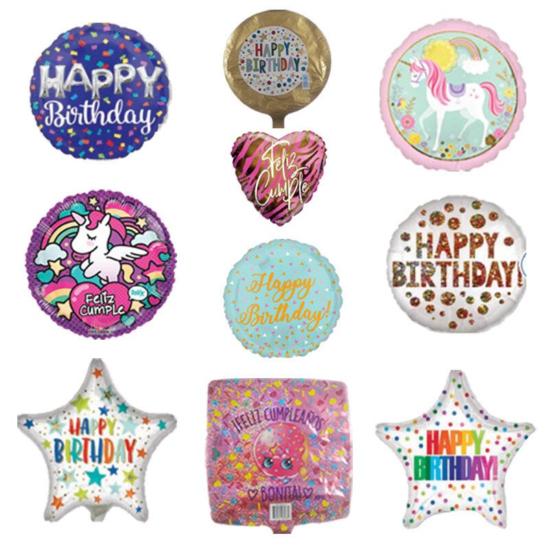 Paquete de Cumpleaños #5, Medida 09 Pulgadas, Contenido 100 Piezas, 10 Modelos Diferentes, Marca Anagram y Kaleidoscope