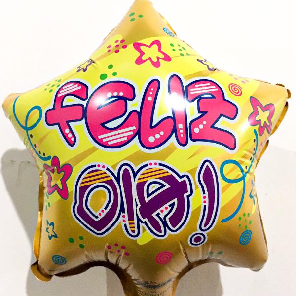 Globo Metalico Feliz Dia de Cumpleaños, 09 Pulgadas en Forma de Estrella, Marca Kaleidoscope