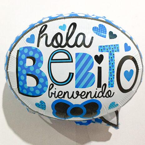 Globo Metalico Hola Bebito Bienvenido de Baby Shower, 18 Pulgadas en Forma de Circulo, Marca Kaleidoscope