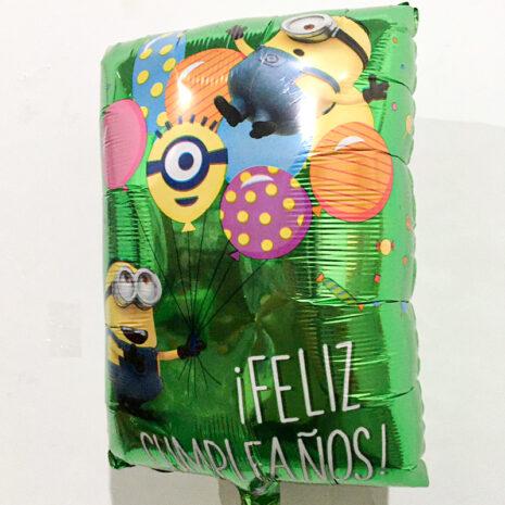 Globo Metalico Feliz Cumpleaños Minions Festejo Verde de Cumpleaños, 18 Pulgadas en Forma de Rectangulo, Marca Anagram