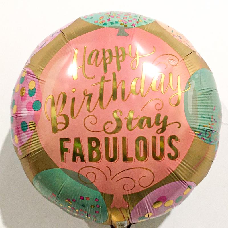 Globo Metalico Happy Birthday Stay Fabulous de Cumpleaños, 18 Pulgadas en Forma de Circulo, Marca Anagram