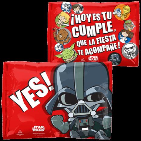 Globo Metalico Hoy es tu Cumple Star Wars Animado de Cumpleaños, 18 Pulgadas en Forma de Cuadrado, Marca Anagram