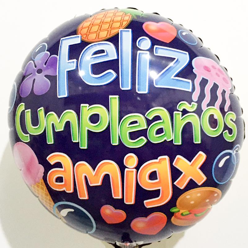 Globo Metalico Feliz Cumpleaños Amigx de Cumpleaños, 18 Pulgadas en Forma de Circulo, Marca Kaleidoscope
