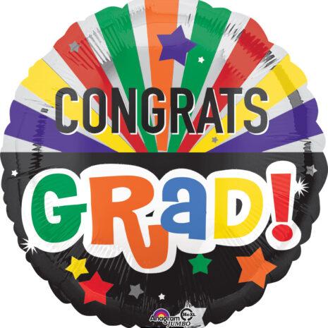 Globo Metalico Congrats Grad Festejo Multicolor de Graduacion, 36 Pulgadas en Forma de Circulo, Marca Anagram