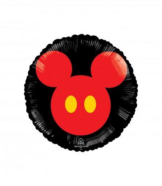 Globo Metalico Mickey Mouse Retrato Retro de Cumpleaños, 18 Pulgadas en Forma de Circulo, Marca Anagram