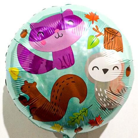 Globo Metalico Animalitos del Bosque de Baby Shower, 18 Pulgadas en Forma de Circulo, Marca Anagram