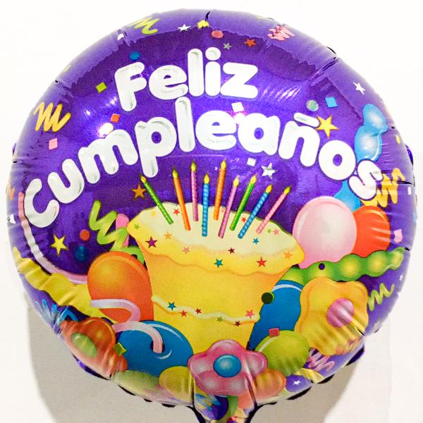 Globo Metalico Feliz Cumpleaños Festejo Magico de Cumpleaños, 09 Pulgadas en Forma de Circulo, Marca Kaleidoscope