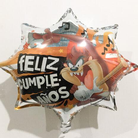 Globo Metalico Feliz Cumple Años Taz Rock and Roll de Cumpleaños, 18 Pulgadas en Forma de Estrella, Marca Kaleidoscope