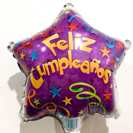 Globo Metalico Feliz Cumpleaños Serpentinas y Estrellas de Cumpleaños, 09 Pulgadas en Forma de Estrella, Marca Kaleidoscope