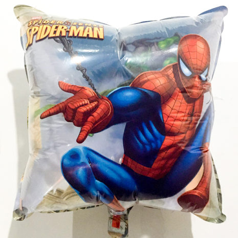 Globo Metalico Spider Man al Ataque de Cumpleaños, 18 Pulgadas en Forma de Cuadrado, Marca Kaleidoscope