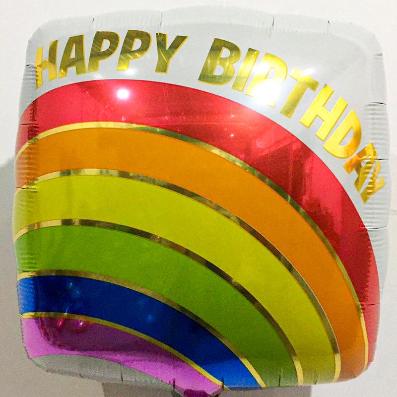Globo Metalico Happy Birthday Arcoiris de Cumpleaños, 18 Pulgadas en Forma de Cuadrado, Marca Anagram
