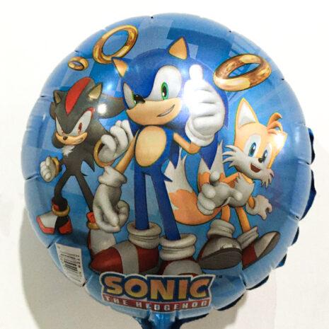 Globo Metalico Sonic y sus Amigos de Cumpleaños, 09 Pulgadas en Forma de Circulo, Marca Anagram