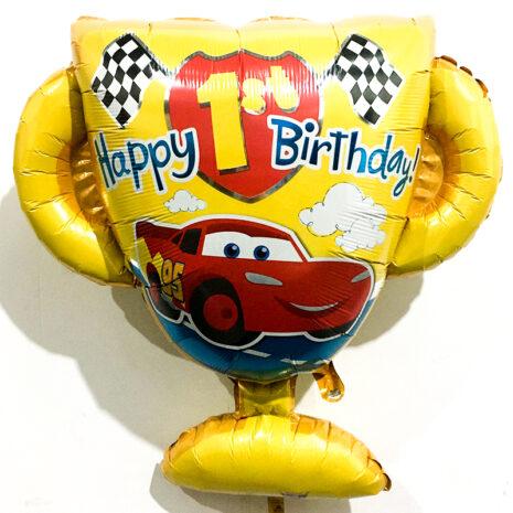 Globo Metalico Happy Birthday Copa Cars de Cumpleaños, 28 Pulgadas en Forma de Copa, Marca Anagram