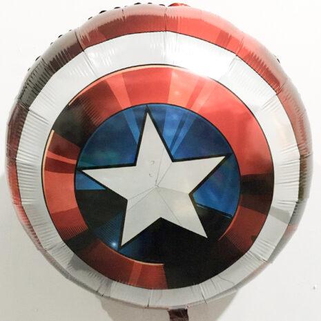 Globo Metalico Escudo Capitan America de Cumpleaños, 28 Pulgadas en Forma de Circulo, Marca Anagram
