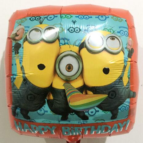 Globo Metalico Happy Birthday Minions Festejando de Cumpleaños, 18 Pulgadas en Forma de Cuadrado, Marca Anagram