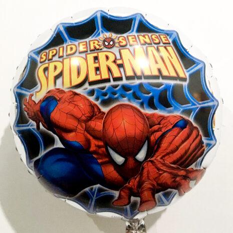 Globo Metalico Spider Man Telaraña de Cumpleaños, 18 Pulgadas en Forma de Circulo, Marca Kaleidoscope