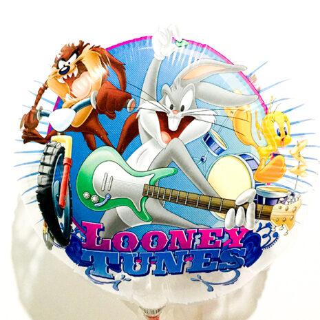 Globo Metalico Looney Tunes Rock and Roll de Cumpleaños, 18 Pulgadas en Forma de Circulo, Marca Kaleidoscope