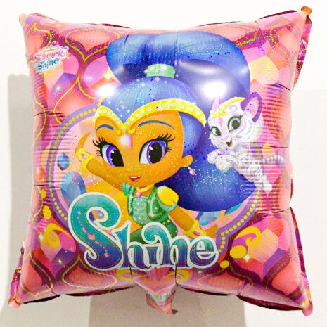 Globo Metalico Shimmer Shine Sonriendo de Cumpleaños, 18 Pulgadas en Forma de Cuadrado, Marca Kaleidoscope